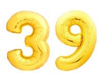 O número dourado 39 trinta e nove fez do balão inflável Imagem de Stock Royalty Free