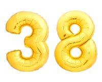 O número dourado 38 trinta e oito fez do balão inflável Fotografia de Stock Royalty Free