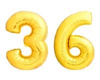 O número dourado 36 trinta e seis fez do balão inflável Fotografia de Stock