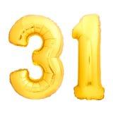 O número dourado 31 trinta uns fez do balão inflável Imagens de Stock Royalty Free