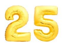 O número dourado 25 vinte cinco fez do balão inflável Imagens de Stock