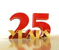 O número dourado vinte cinco numera 25 e a palavra Foto de Stock Royalty Free