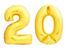 O número dourado 20 vinte fez do balão inflável Fotografia de Stock