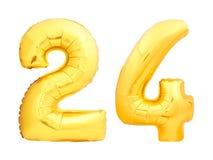 O número dourado 24 vinte quatro fez do balão inflável Imagens de Stock Royalty Free