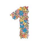 O número 1 fez da borboleta imagens de stock