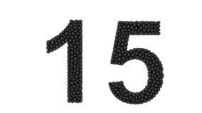 O número 15 formou de bolas pretas pequenas embaladas ilustração stock