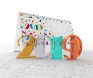 O número 2019 na perspectiva do calendário e as figuras são dois, zero, uns, nove ilustração 3D Fotografia de Stock Royalty Free