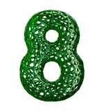 O número 8 oito fez do plástico verde com os furos abstratos isolados no fundo branco 3d Fotografia de Stock
