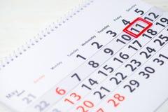 O nacional come o que você quer o dia 11 de maio marca no calendário, clo fotos de stock royalty free