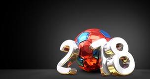 O nacional do russo coloriu a bola e 2018 3d dourados de prata brancos com referência a Ilustração Stock