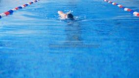 O nadador fêmea participa em uma competição da natação em uma associação 4K vídeos de arquivo