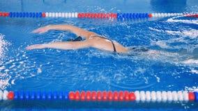 O nadador profissional faz o rastejamento em uma associação grande, vista lateral 4K video estoque