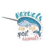 O narval é meus animais do espírito Citações inspiradas escritas à mão ilustração do vetor