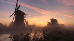 O nascer do sol aquece acima a água do canal na névoa video estoque