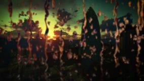 O nascer do sol do timelapse de Londres, seguradora suíça sedia, o pepino, inclinação, foco da chuva deixa cair ilustração royalty free