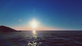 O nascer do sol e o céu são azuis ilustração do vetor