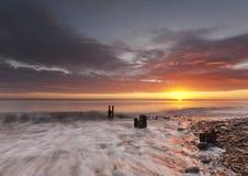 O nascer do sol em Seaham Imagens de Stock Royalty Free