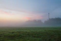 O nascer do sol enevoado em um prado em Rússia central Imagens de Stock