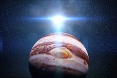 O nascer do sol sobre o Júpiter do planeta com o Sun e as estrelas da galáxia 3d rendem, elementos desta imagem são fornecidos pe ilustração stock