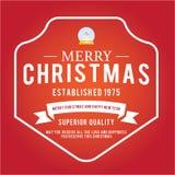 O Natal é tema do emblema Elementos das decorações Fotos de Stock Royalty Free