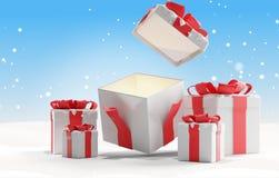 O Natal aberto apresenta com Natal 3d-illustration do fundo da neve ilustração stock