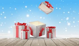 O Natal aberto apresenta com neve 3d-illustration ilustração stock
