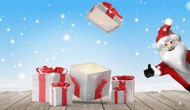 O Natal aberto apresenta com neve 3d-illustration ilustração do vetor