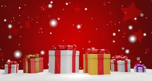 O Natal apresenta com fita 3d-illustration ilustração do vetor
