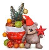 O Natal brinca a composição com urso de peluche Foto de Stock