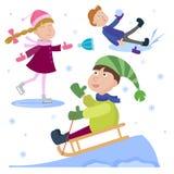 O Natal caçoa o jogo da ilustração do vetor do fundo do feriado de inverno do ano novo dos desenhos animados dos jogos do inverno ilustração do vetor