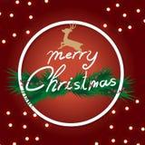 O Natal com decorado do pinho ramifica no vermelho do fundo Fotos de Stock Royalty Free