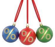 O Natal da Natal-árvore do ano novo brinca bolas vermelhas, verdes e azuis com o símbolo dos por cento, pendurando a fita Fotos de Stock Royalty Free