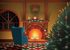 O Natal decorou o interior Imagem de Stock Royalty Free