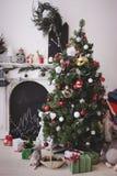 O Natal decorou a sala Imagens de Stock