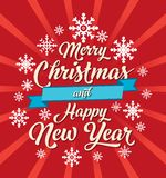 O Natal deseja o cartão com fundo vermelho e os flocos de neve brancos imagens de stock royalty free