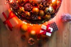 O Natal do xmas do ano novo ornaments a decoração fotografia de stock