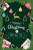 O Natal e o ano novo feliz decoraram o presente da bola do pinho Foto de Stock