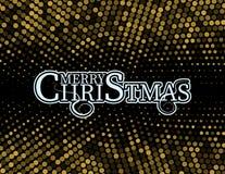 O Natal e o ano novo tipográficos no fundo brilhante do Xmas com inverno ajardinam com flocos de neve, luz, estrelas Feliz Natal ilustração royalty free