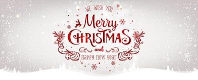 O Natal e o ano novo tipográficos no fundo brilhante do Xmas com inverno ajardinam com flocos de neve, luz, estrelas Feliz Natal ilustração stock