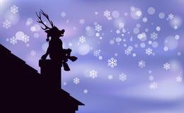 O Natal feliz do fundo de Santa Claus Artwork da rena, jovem corça nova é uma silhueta preta que senta-se na chaminé, snowfa apre ilustração stock