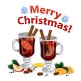 O Natal ferventou com especiarias o vinho com especiarias, fatia alaranjada, anis Imagens de Stock Royalty Free