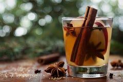 O Natal ferventou com especiarias a sidra de maçã com especiarias canela, cravos-da-índia, anis e mel na tabela rústica, bebida t fotografia de stock royalty free
