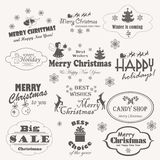 O Natal isolou a coleção de símbolos do projeto, de elementos e de inscrição caligráficos e tipográficos ilustração stock
