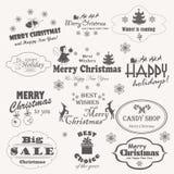 O Natal isolou a coleção de símbolos do projeto, de elementos e de inscrição caligráficos e tipográficos Imagem de Stock