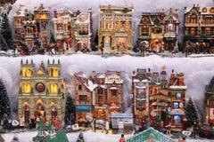 O Natal modela casas pequenas Imagens de Stock