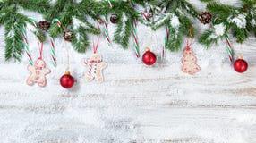 O Natal nevado ramifica com os ornamento de suspensão no branco rústico imagem de stock royalty free