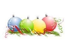O Natal Ornaments agulhas do pinho da fita Imagem de Stock Royalty Free