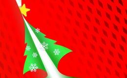 O Natal perfurou o fundo vermelho, moderno do papel com árvore verde e flocos de neve claros Por anos novos na cor esverdeado do  ilustração royalty free