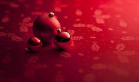 O Natal vermelho Ornaments o fundo Imagens de Stock Royalty Free