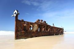 O naufrágio de Maheno, Fraser Island, Queensland, Austrália Fotos de Stock
